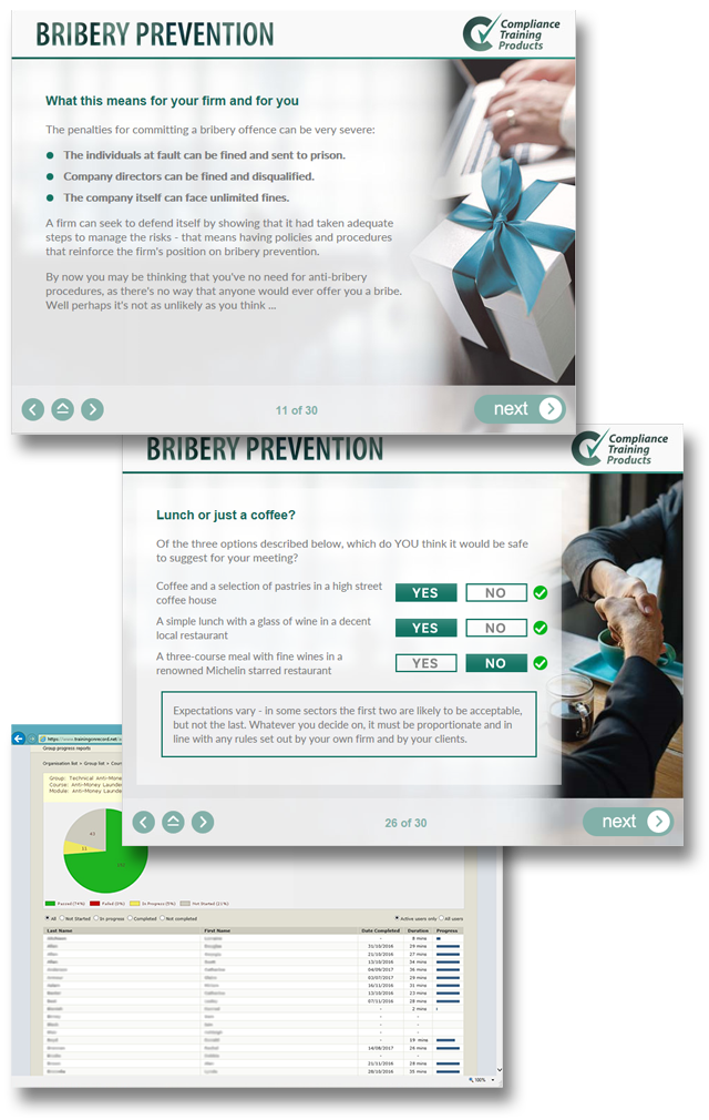 Product image showing bribery prevention online training screens