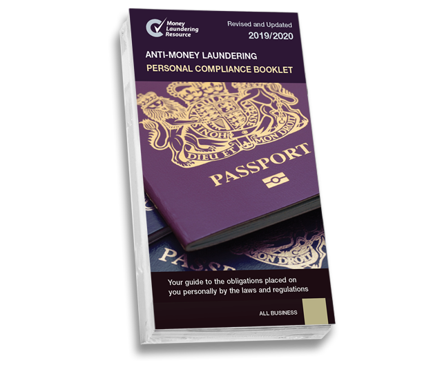 Product image showing anti-money laundering booklets