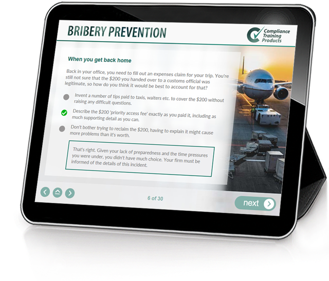 Product image showing bribery prevention online training screen