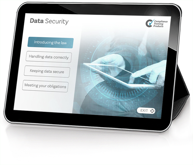 Product image showing data security online training screen