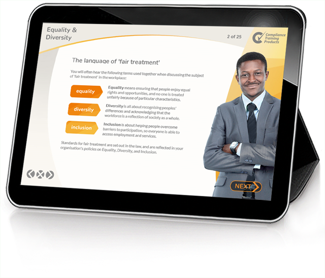 Product image showing equality and diversity online training screen