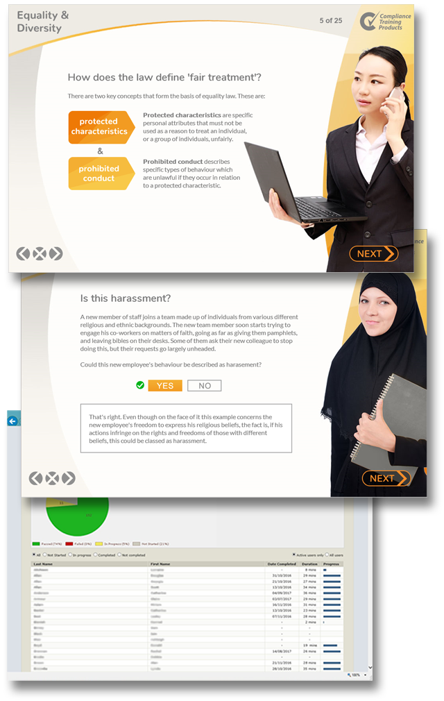 Product image showing equality and diversity online training screens